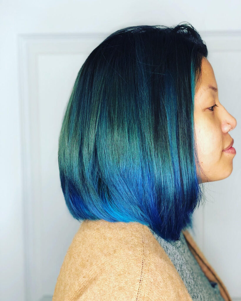 Thomas Shelton Stylist Roque's Client with Blue Hair