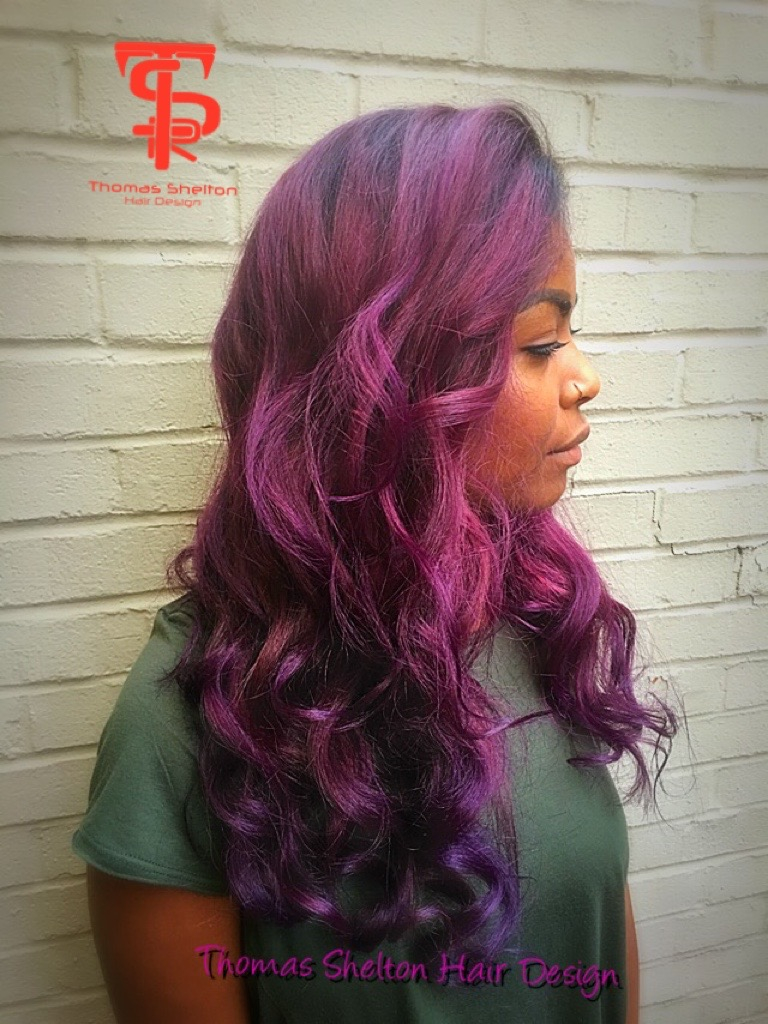 Thomas Shelton's Client With Purple Hair
