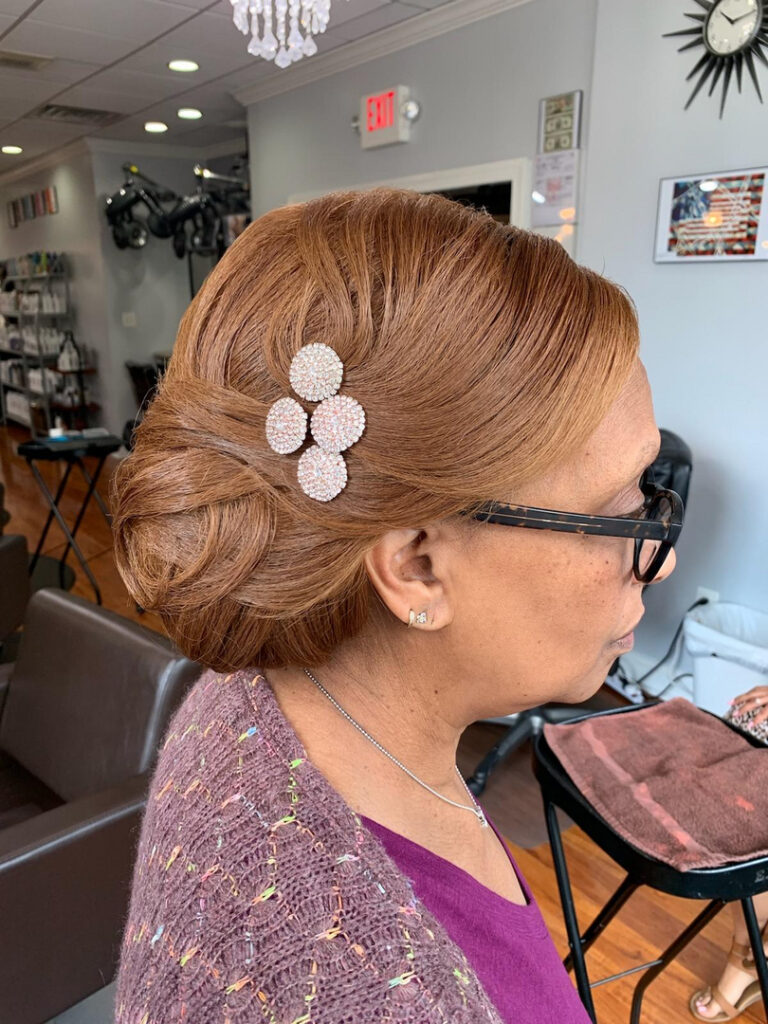 Thomas Shelton Stylist Carlos's Client with Aburn Up-Do