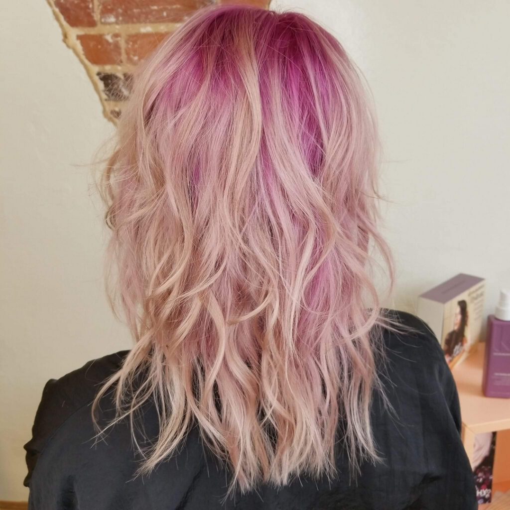 Thomas Shelton Stylist Scott's Client With Salmon Pink Highlights