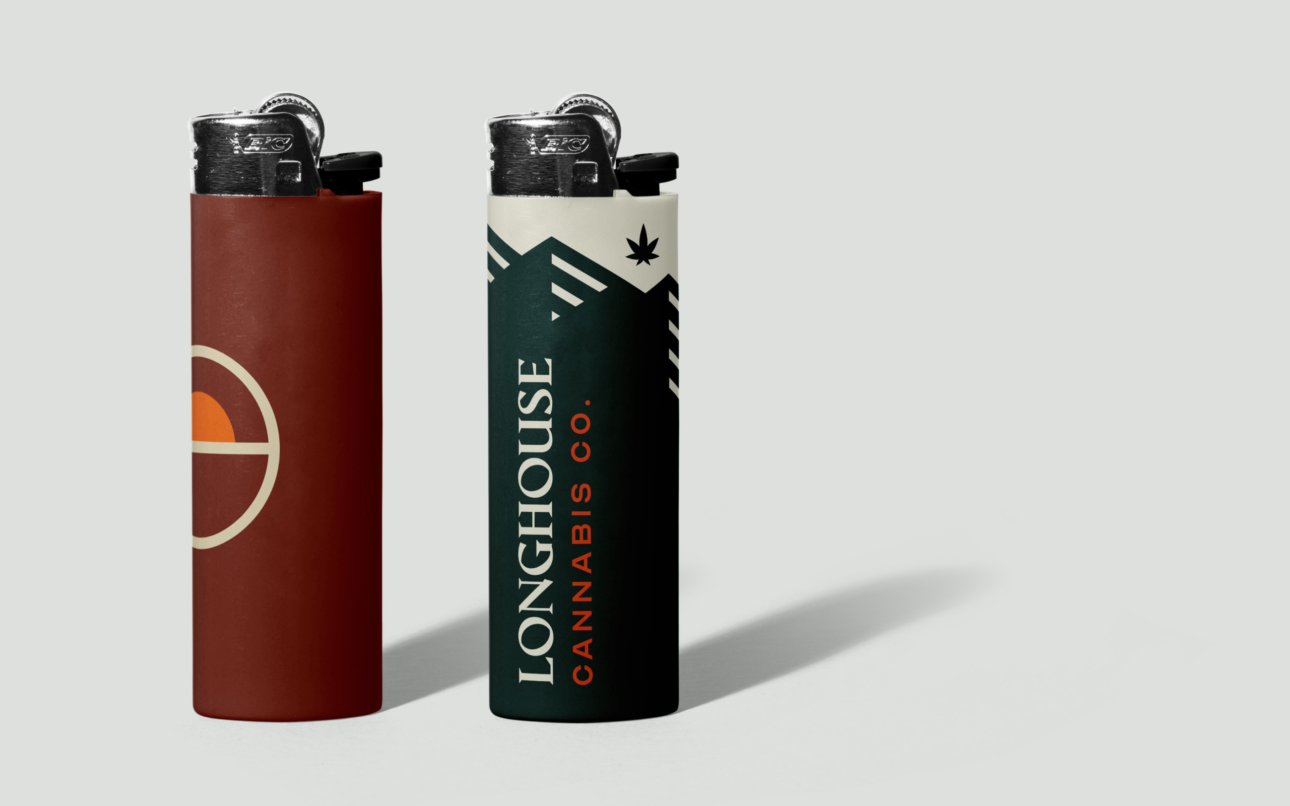Mockups of the brand on plastic lighters.