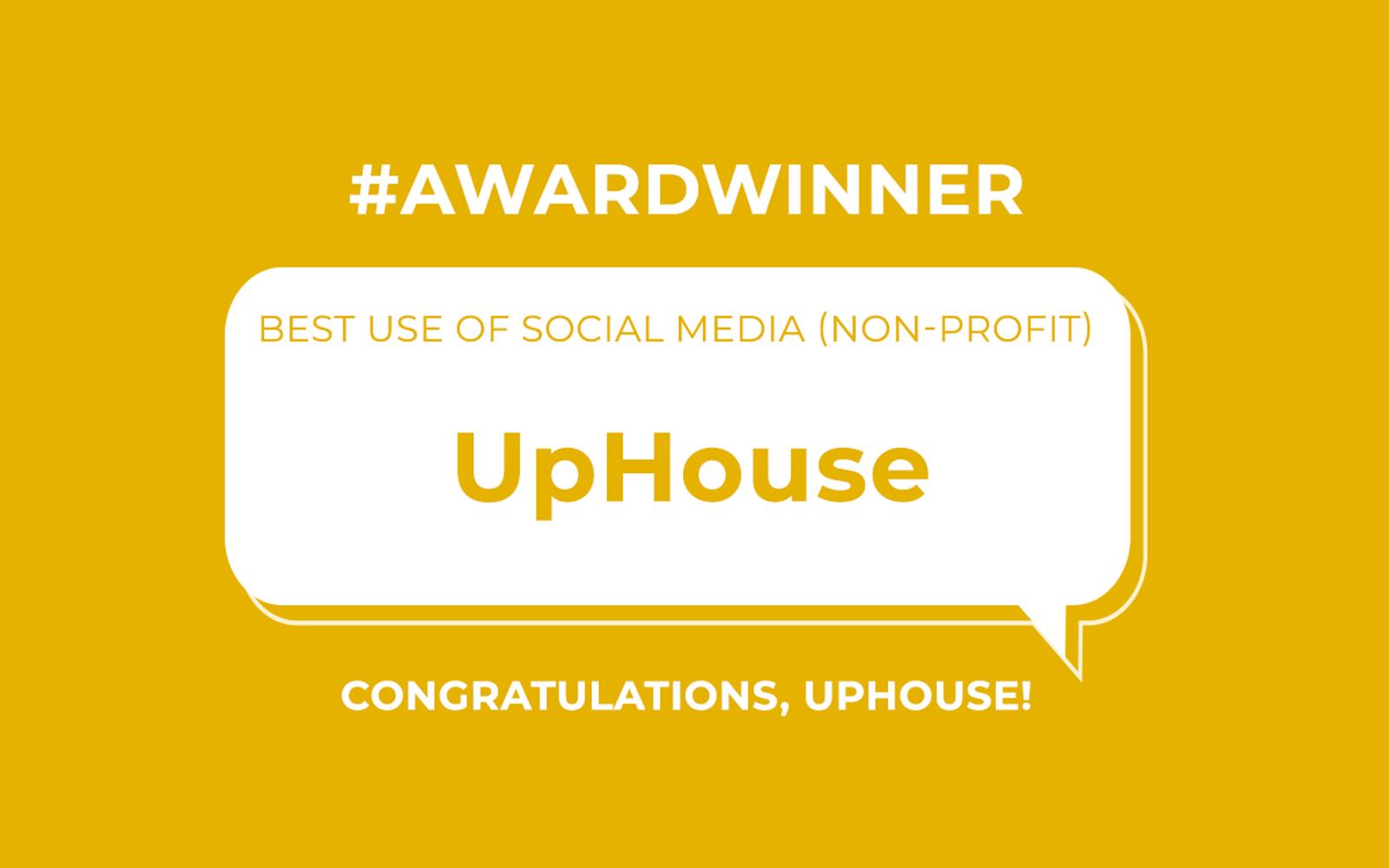 Winner slide announcing UpHouse as a Hashtag Award winner.