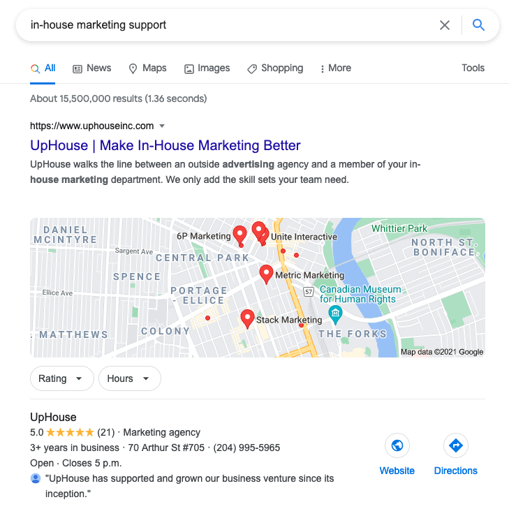 Search result for in-house marketing support for which UpHouse appears in the top spot.