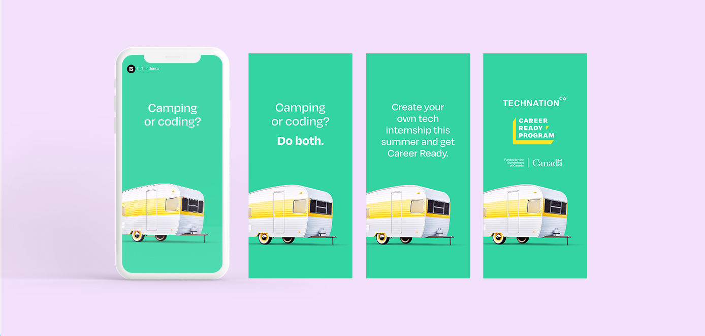Mobile screenshots of a camping trailer in an ad encouraging the hiring of summer Career Ready Students.