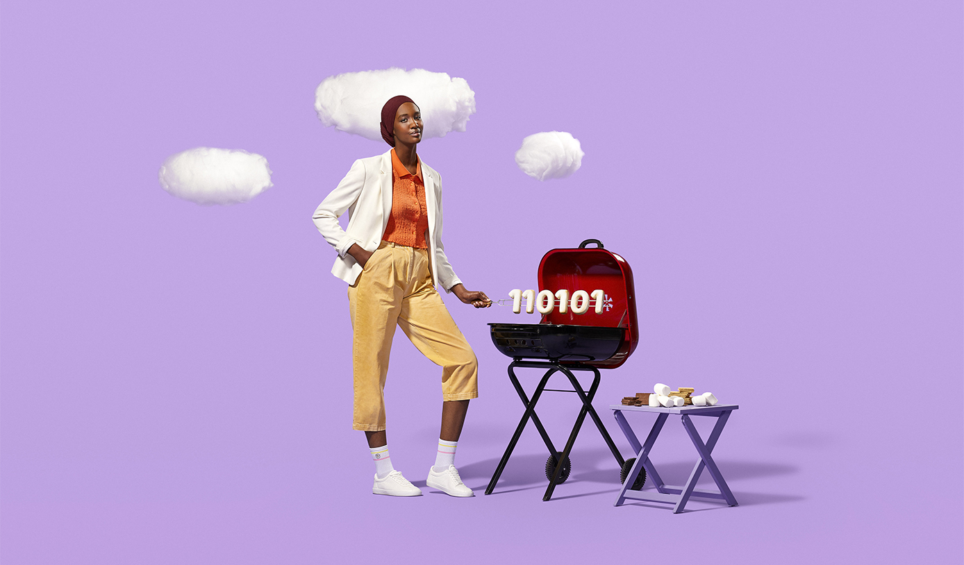 Career Ready Student against a lavender background barbecuing a skewer of marshmallow ones and zeros resembling binary code.
