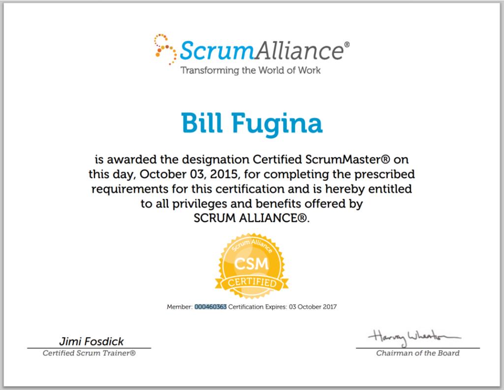 ScrumAlliance CSM Certificate