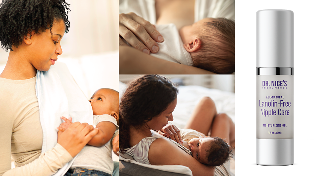 Moms breastfeeding next to a bottle of Dr. Nice's Moisturizing Gel