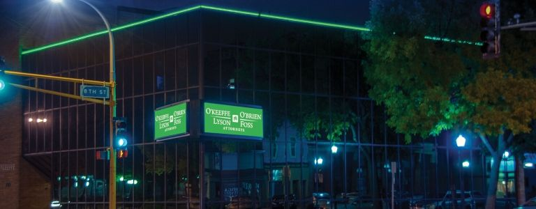 OOLF building night shot law firm fargo
