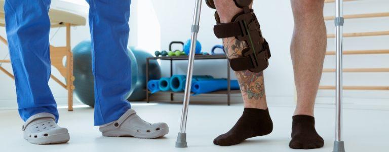 man on crutches personal injury fargo