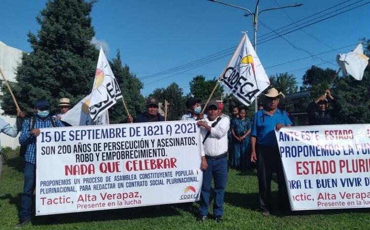 CODECA se opone a la celebración del Bicentenario y realiza manifestaciones en varios departamentos