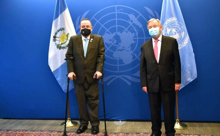Giammattei se reune con secretario de la ONU en su viaje a Nueva York