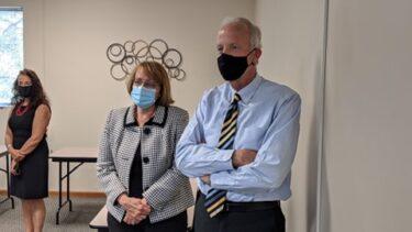 Pawnee Mental Health Executive Director Robbin Cole (left) and Senator Jerry Moran