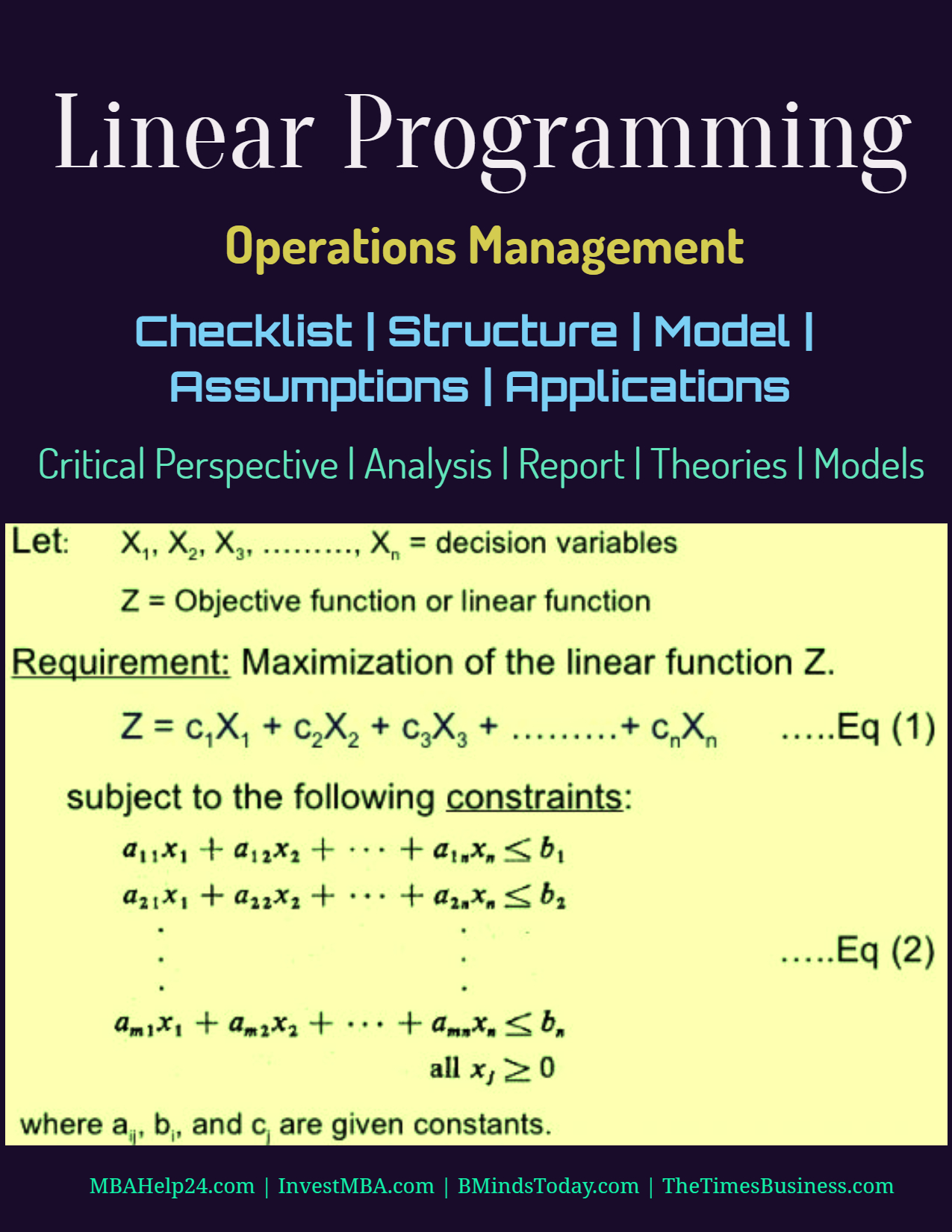 Linear Programming | Checklist | Structure | Model | Assumptions | Applications Linear Programming Linear Programming | Checklist | Structure | Model | Assumptions | Applications Linear Programming Checklist Structure Model Assumptions Applications