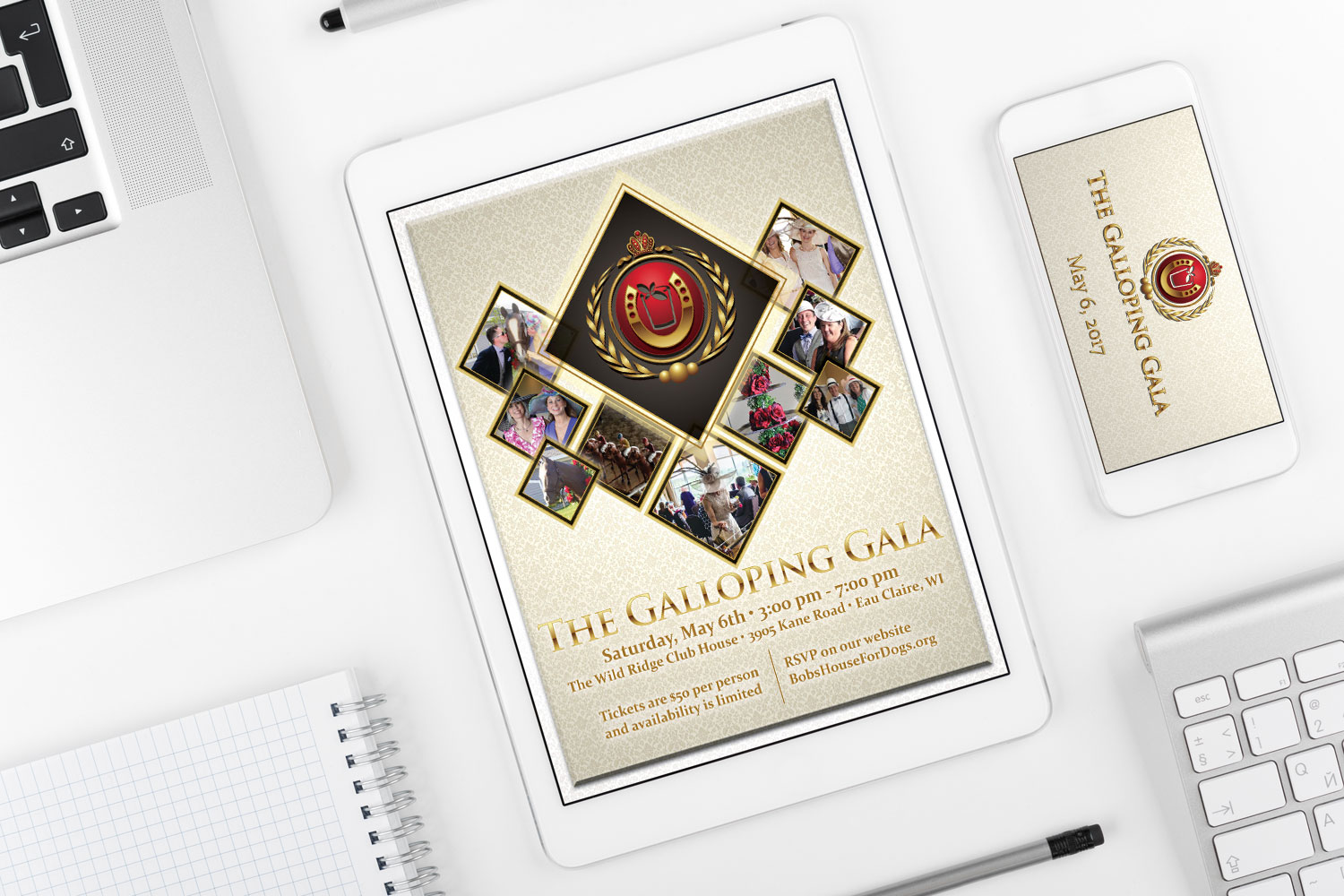 Galloping Gala Facebook Ad on Tablet