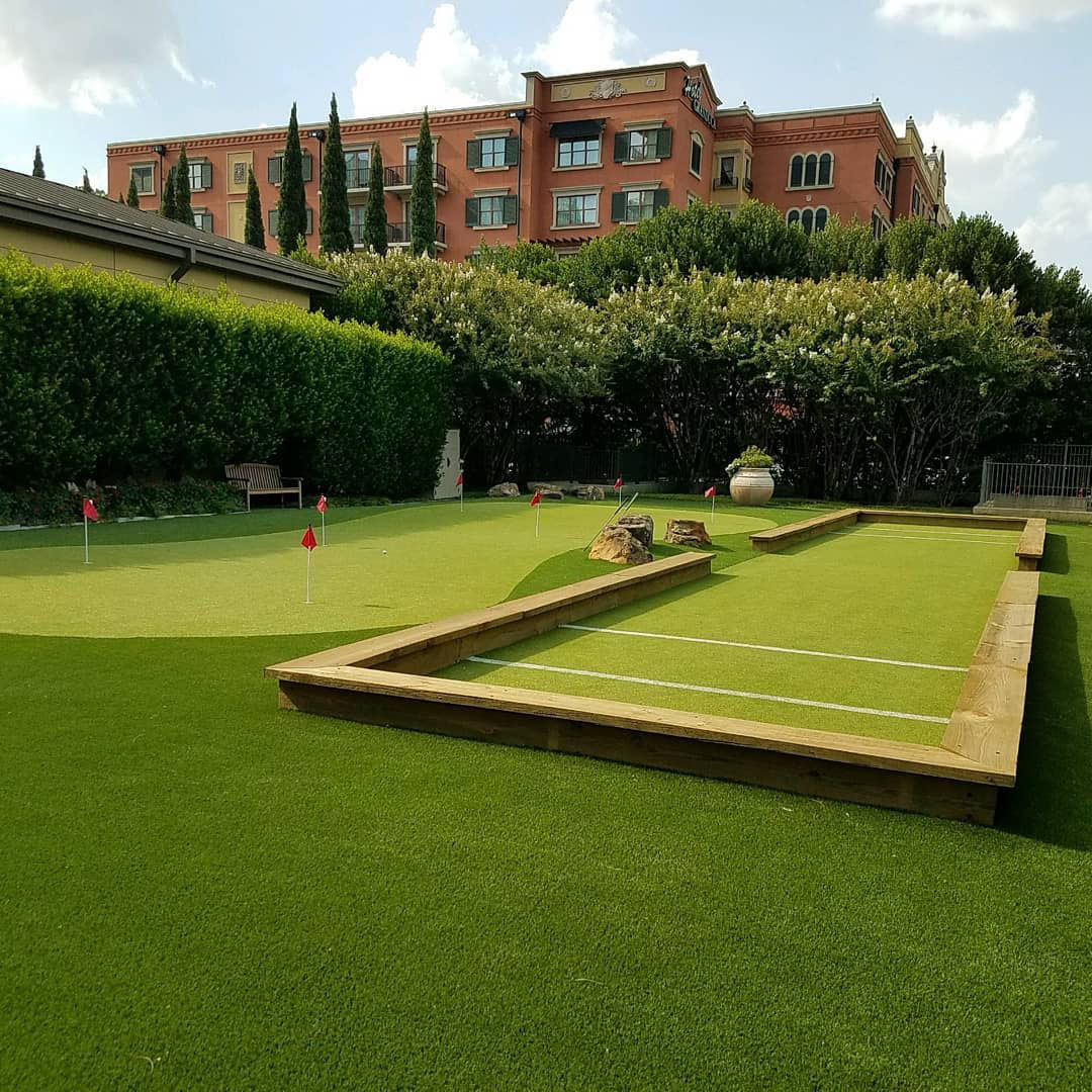 artificial grass golf green and boccee court