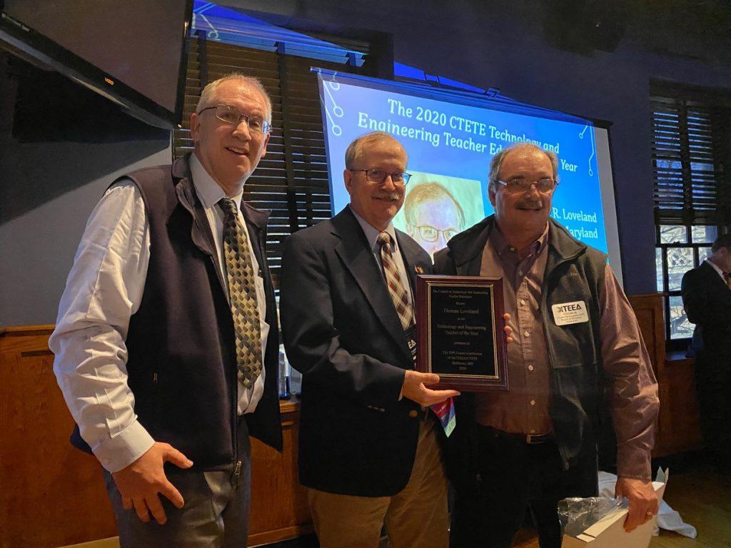 Tom Loveland (center) – . CTETE President Steve Shumway (left) and CTETE Past-President Charles McLaughlin (right) presenting.