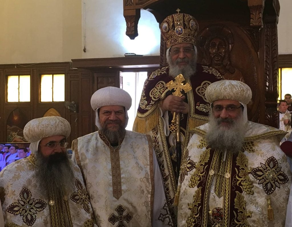 H. H. Pope Tawadros II with H. E. Metropolitan Serapion and H. G. Bishop Abraham and H. G. Bishop Kyrillos