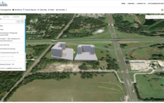 screenshot of virtual buildings layer in gis system