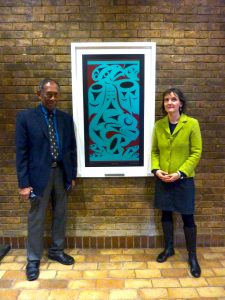 """Dr. Herle comments : """"It is inspiring to see Chris Paul 's """"Salish Sea"""" alongside Churchill College's rich collection of artworks and to see Professor Wickramasinghe's work honored in this way!"""""""