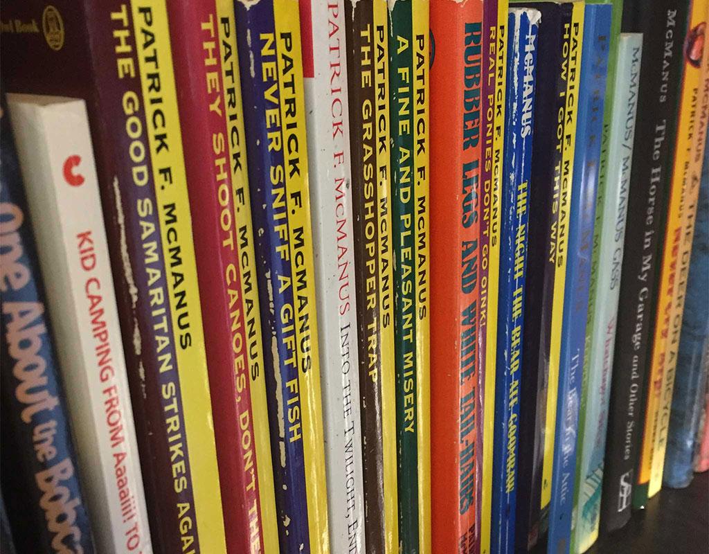 Bookshelf of Pat McManus books