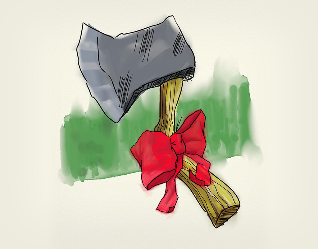 Illustration of Christmas hatchet.