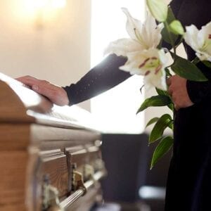 Wrongful Death Lawyer St Petersburg. Photo of a casket at a funeral
