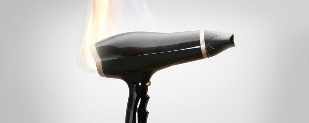 Product Liability Lawyer St Petersburg Florida - Photo of a hair dryer on fire