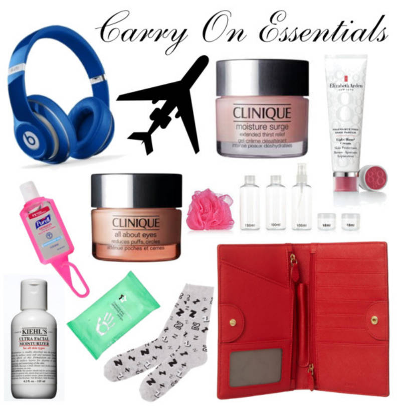 Carry On Essentials, Beats by Dre Studio, Beauty, Skincare, Travel, Clinique, Purell, Superdrug, Face Wipes, Kiehl's, DKNY, Travel Wallet, Socks, Elizabeth Arden, M&S, Blog A Book Etc, Fay