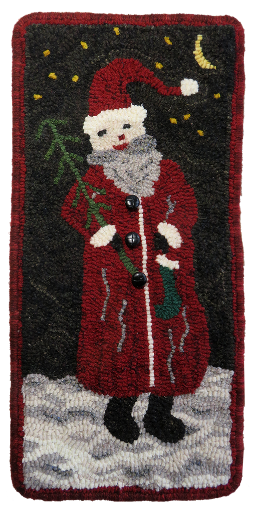 Dawna Matthew, Jolly Santa, patron Searsport Rug Hooking