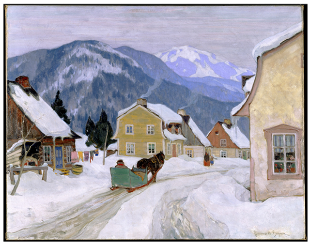 Clarence Gagnon. Village laurentien, 1927. Oil painting. 73x92 cm, Collection du Musée national des beaux-arts du Québec.