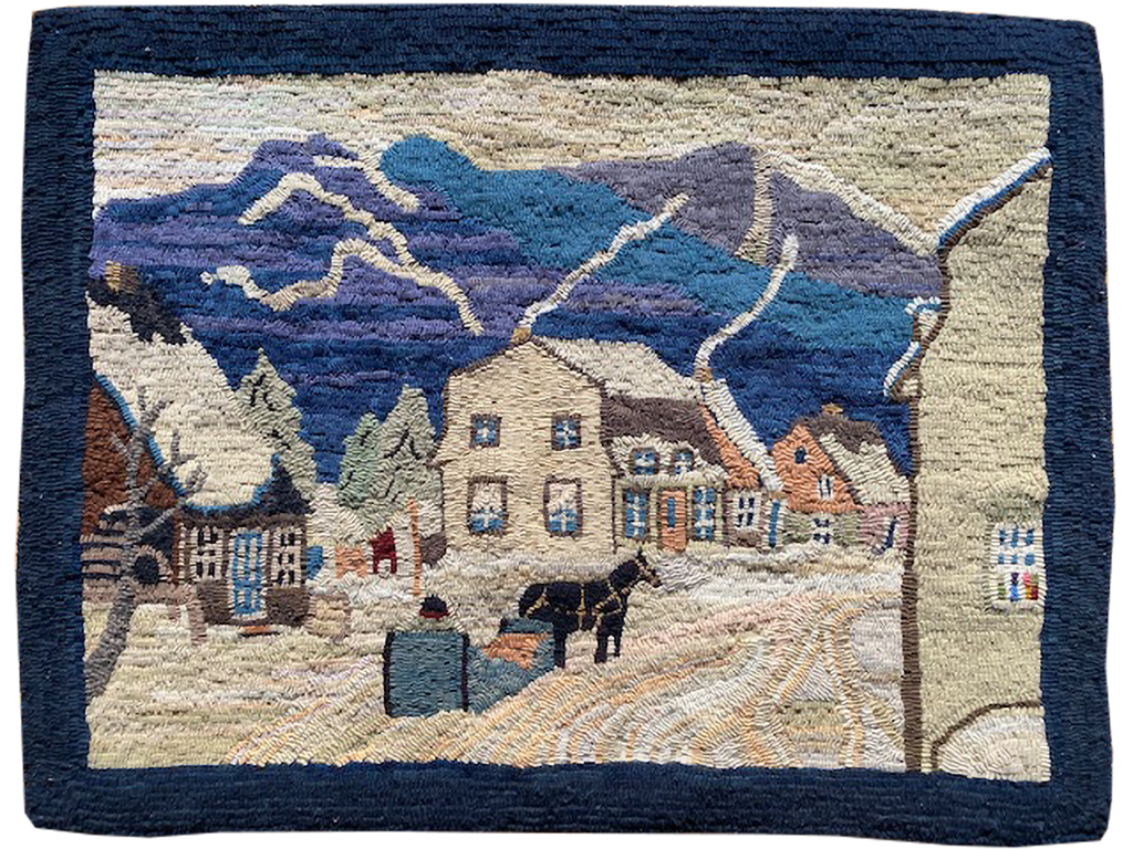 Judith Dallegret. Old Quebec Winter Scene. Replica of an Antique rug of a Painting by Clarence Gagnon.