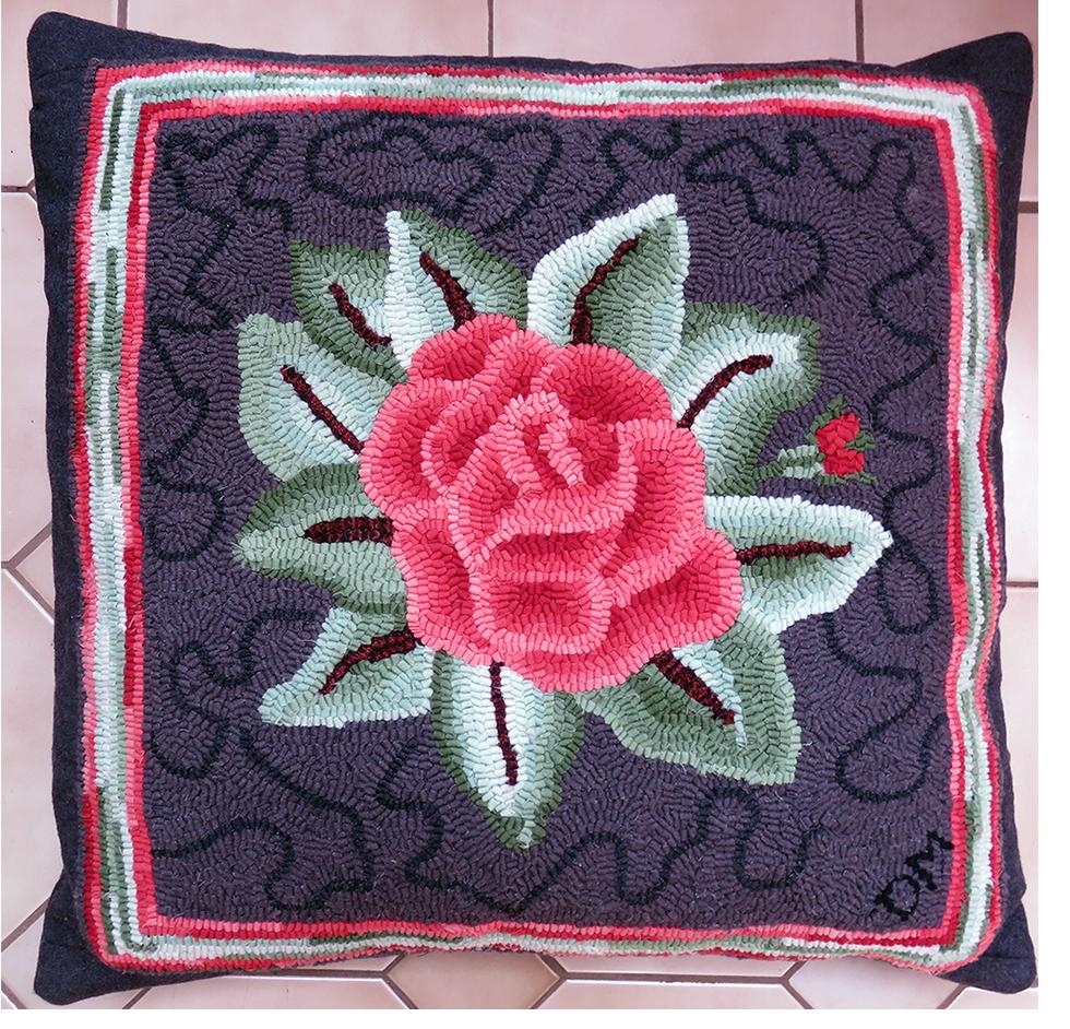 Dawna Matthew. Rose Pillow. Design from The Rug Hooker's Bible.