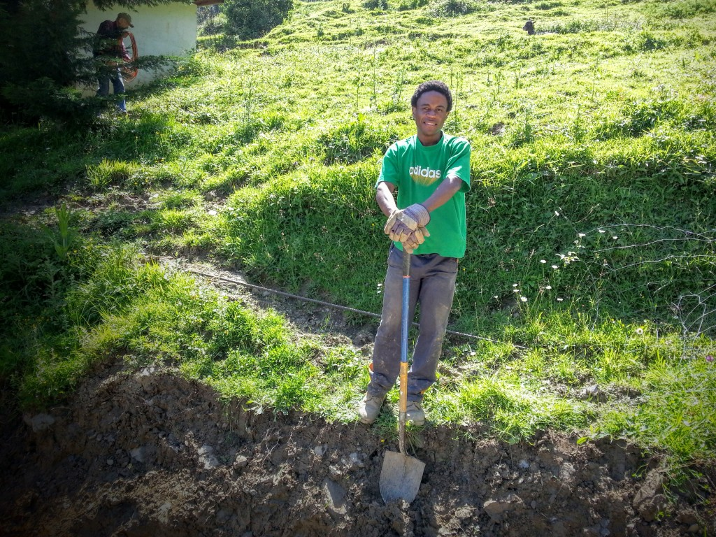 Amadeo working at the Aierdi farmhouse. He goes out to work every chance he gets now.