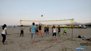 Church volleyball after our evening service at the nearby beach
