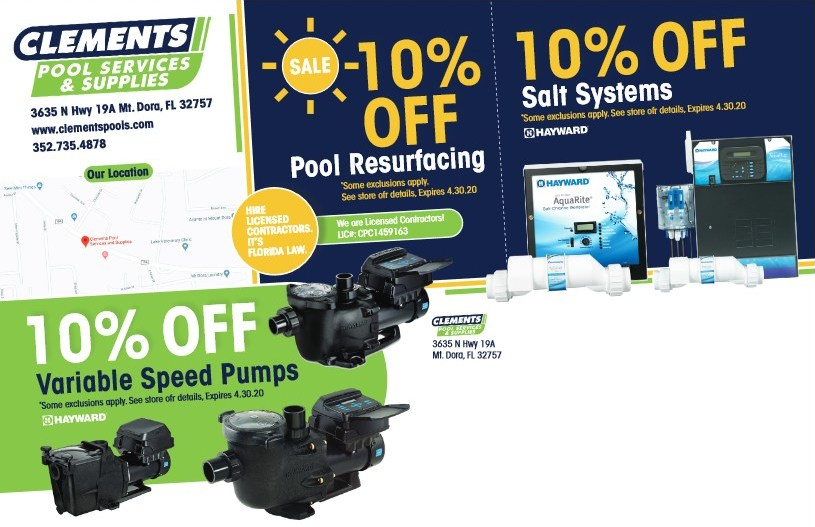 Clements Pool Services Spring Sale 2020