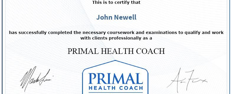 Primal Health Coach Certificate of Achievement