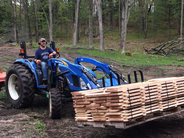 stacked stickered lumber