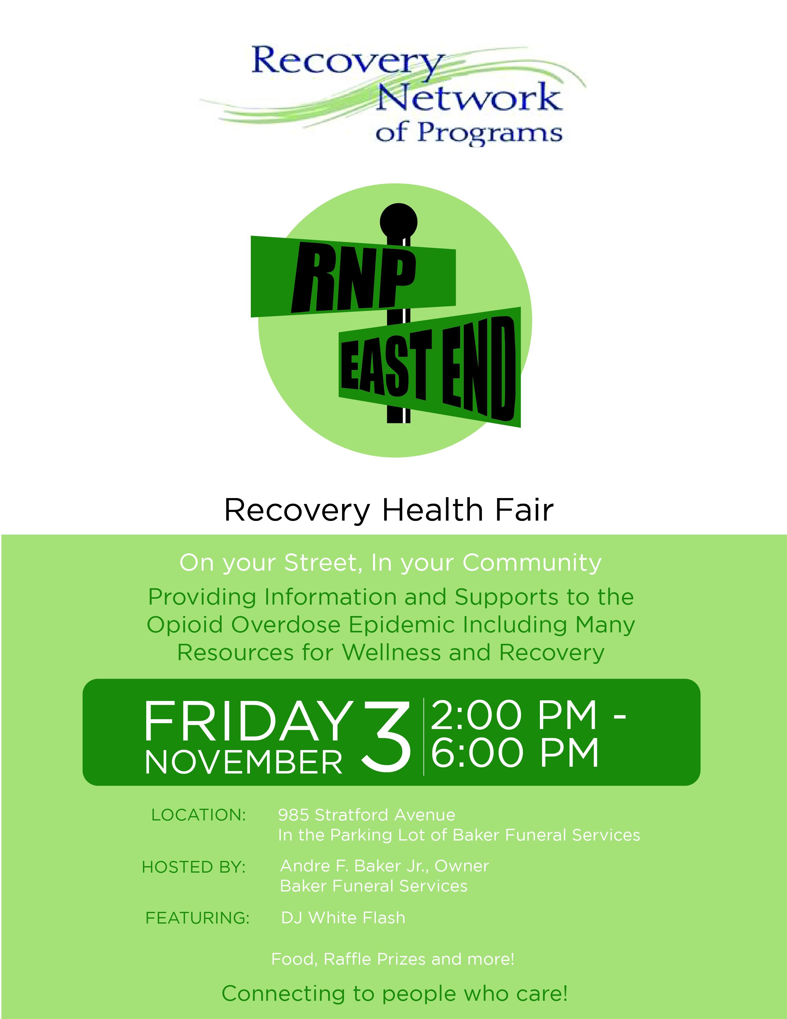 Recovery Health Fair Flyer