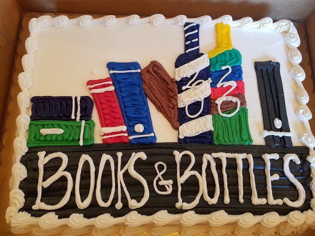 Books and bottles cake