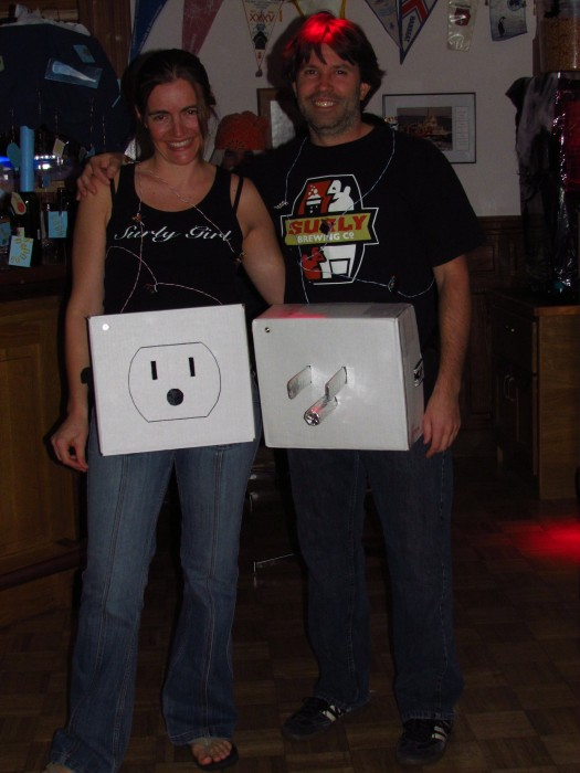 DIY electric plug halloween couples costume