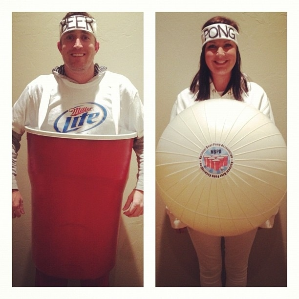 simple DIY beer pong couples costume