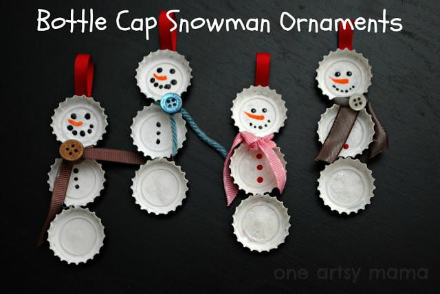 Bottle Cap Snowman Ornament