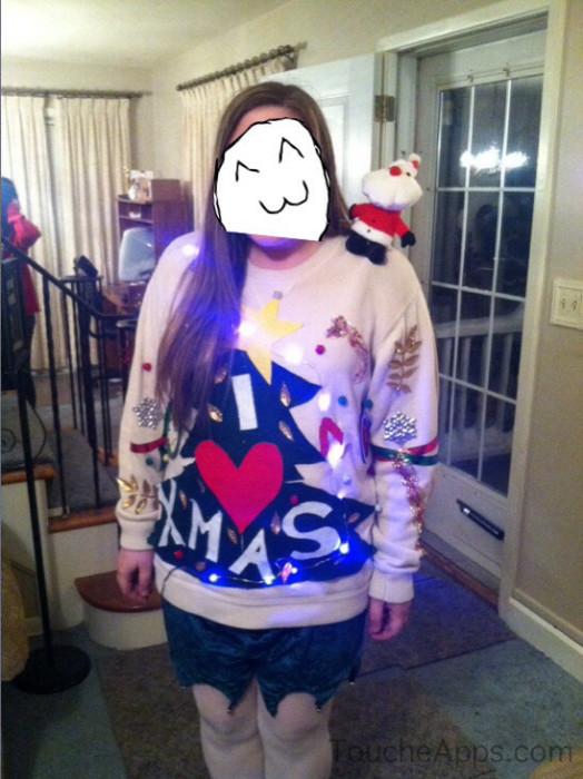 Christmas Tree and Santa Ugly Sweater