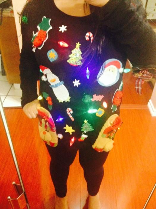 DIY Ugly Christmas Sweater with Lights