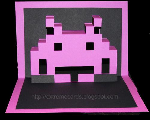 Space Invader Pop Up Card