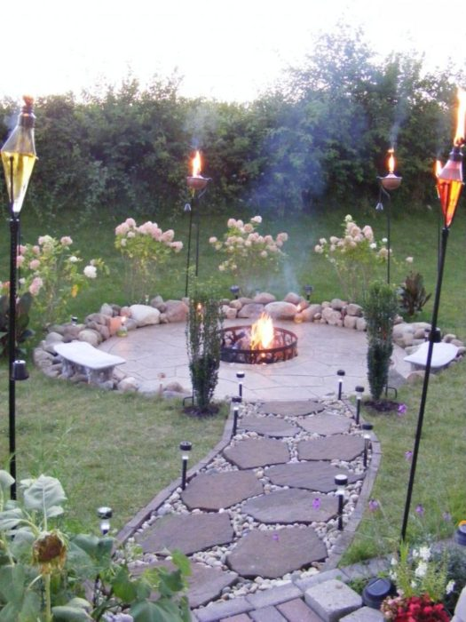Perfect Torches with Flagstone Walkway for Inexpensive Patio