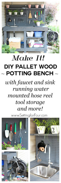 DIY Pallet Wood Potting Bench with Sink