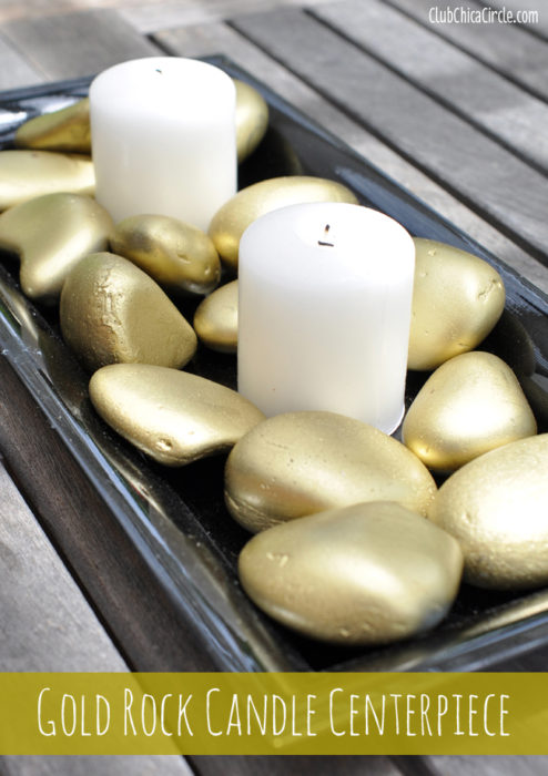 Gold Rock Candle Centerpiece
