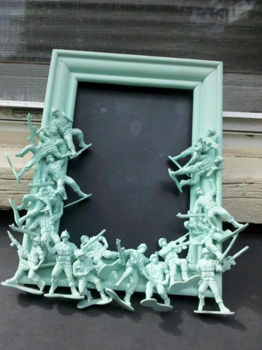 Light green army men chalkboard