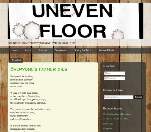 Uneven Floor poetry journal screenshot